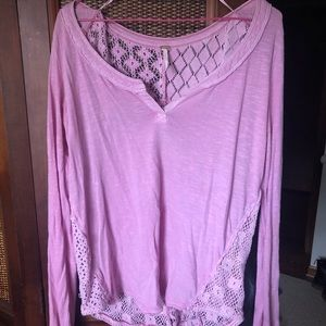 Pink Free People Cotton Blouse